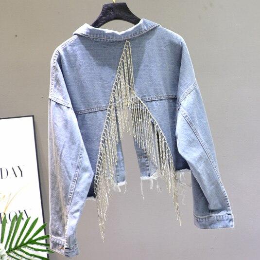 Autumn Denim Jacket Ladies New Hand Studded Drill Diamond Tassels Back Split Jeans Jacket Short Jeans Coat Manteau Femme