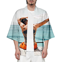 Williwhey 3D Oversize Japanese Kimono Men Samurai Costume Clothing Loose Anime Clothes Male Casual Outerwear
