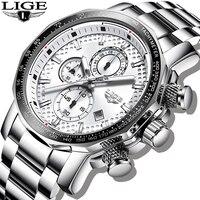 LIGE-reloj analógico con esfera grande para hombre, accesorio de pulsera de cuarzo resistente al agua con cronógrafo, complemento masculino deportivo de marca de lujo con diseño militar, 2021