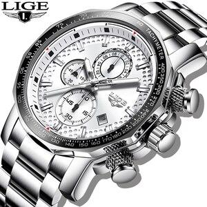 LIGE-Reloj de plata con esfera grande para hombre, cronógrafo deportivo, de cuarzo, militar, resistente al agua, 2020