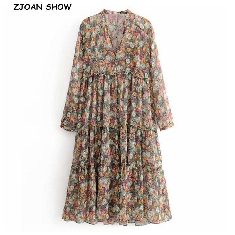 Fall Women Button V Neck Flower Print Long Sleeve Dress Splice Wood Ears Ruffles Long Dresses Chiffon With Lining Vestidos