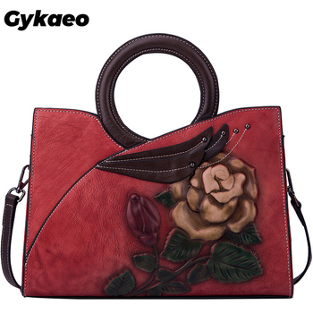 Gykaeo European and American Style Retro Genuine Leather Bags Handbags Women Famous Brands Flroal Tote Bag Ladies Shoulder Bags