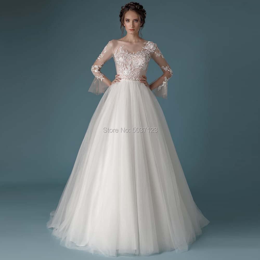 Wedding Dresses Long Sleeves V Neck A Line Tulle Lace Appliques Sweep Train Bridal Gown Vestido De Noiva Button Illusion
