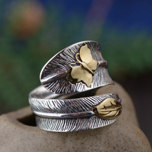 925 Sterling Silver Old Silver Craftsman Handcrafted Fashion Simple Butterfly Feather Opening Adjustable Female Ring Accessories bocai silver 925 silver butterfly ring gently move as the moment flew into your eyes