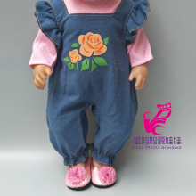 цена 18 inch  baby new born doll Jeans strap pants for 18