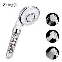 ZhangJi 3-funkcja oszczędzająca wodę słuchawka do prysznica wysokiego ciśnienia i prysznic ręczny ABS zatrzymania wody tryb z dodatkowym zestaw filtr koraliki
