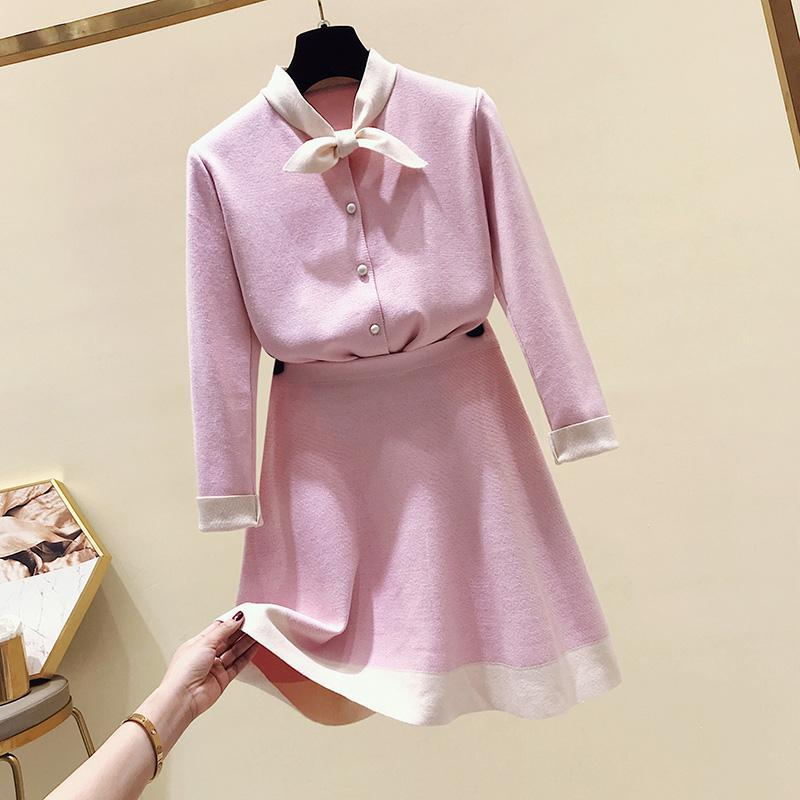 2019 Spring Autumn Women Vintage Two Piece Set Outfit Clothes Fashion New Sweater Tops + Skirt Suit Woman Casual Sets