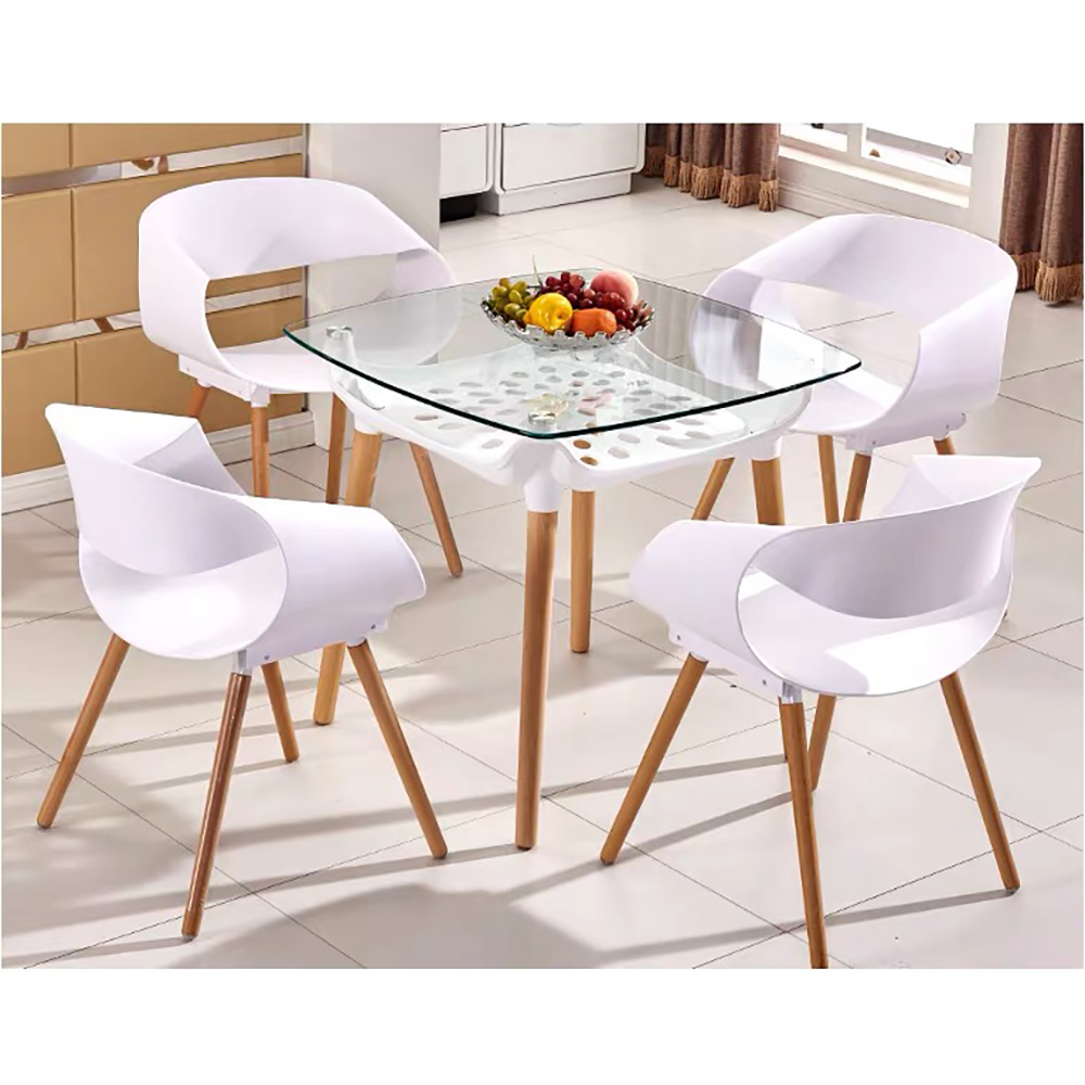 Home Dining Table Tempered Glass Table Set On Beech Legs With Underframe New Design White Kitchen Table  Modern Table Size 80cm