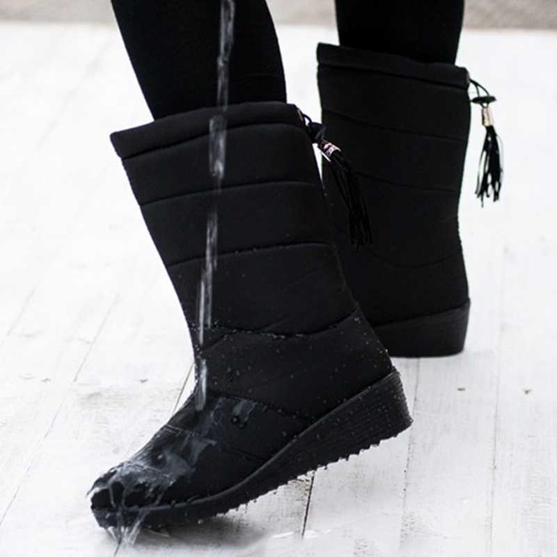 LAKESHI Mid-Kalb Stiefel Wasserdichte Stiefel Schnee Winter Stiefel für Frauen Schuhe Fell Warme Winter Frauen Stiefel Quaste Licht stiefel Weibliche
