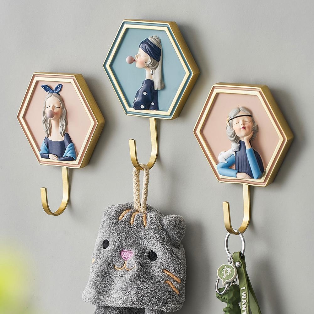 Hangers Bathroom Accessories Key Hanger Hook Key Holder Wall Wall Hooks Decorative Minimalist Hanger Coat Hook Polyresin Hangers