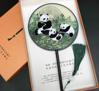 Double side Suzhou Embroidery Craft Hand Fan Desktop Decor Supplies Chinese Handle Fan Panda Small Screen Exquisite Gifts LF579