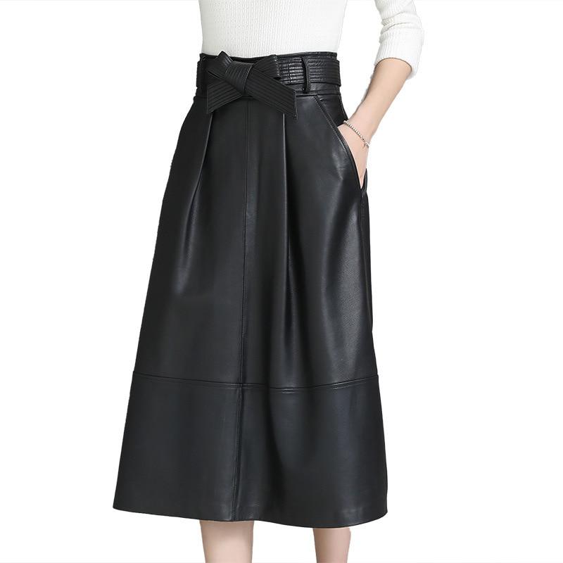 Automne printemps a-ligne solide en cuir véritable avec poches mi-longueur en cuir de mouton sac hanche jupe mode noir classique ceinture jupe