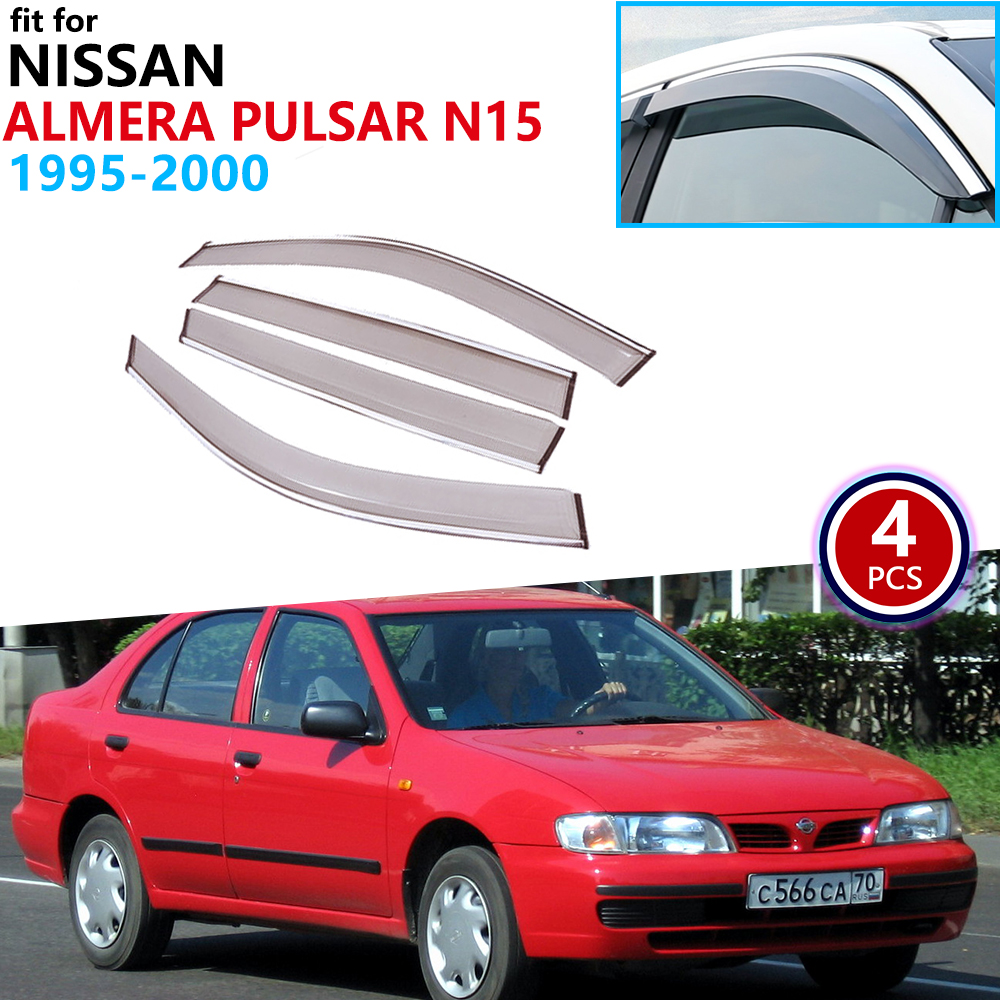 For Nissan Almera Sentra Pulsar Lucino N15 1995~2000 Window Visor Vent Awnings Rain Guard Shelters Accessories 1996 1997 1999