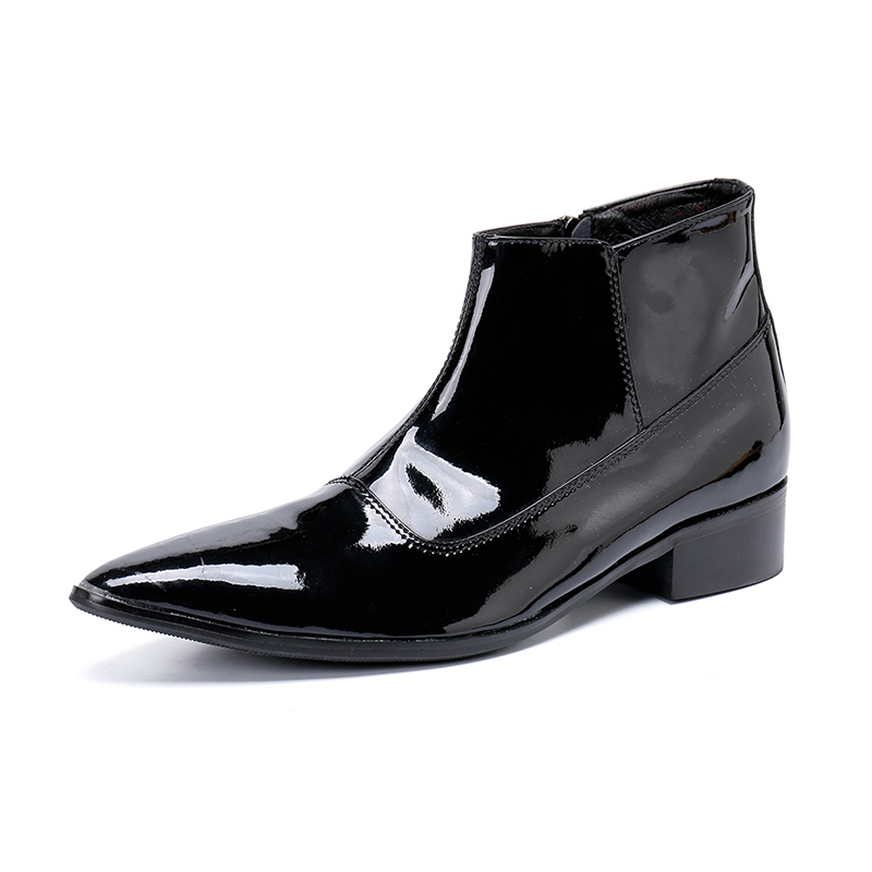 Genuine Leather Pointed-toe Zip Black  Ankle Boots Low Heel Formal Boots Fashion Party Stage Dress Shoes