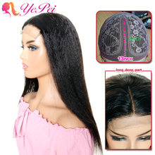 T Part Lace Wig Brazilian Kinky Straight Lace Front Human Hair Wigs Pre-Plucked 150% Density Remy Yepei Hair