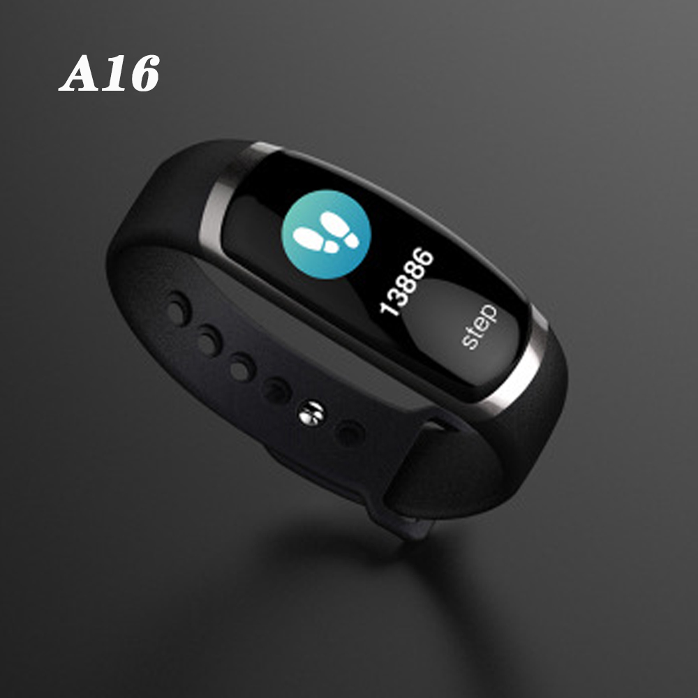 A16 Smart Watch A16 Smart Bracelet IP67 Waterproof Heart Rate Bracelet Fitness Tracker Touch Screen Alarm Clock pk Band2 Watch