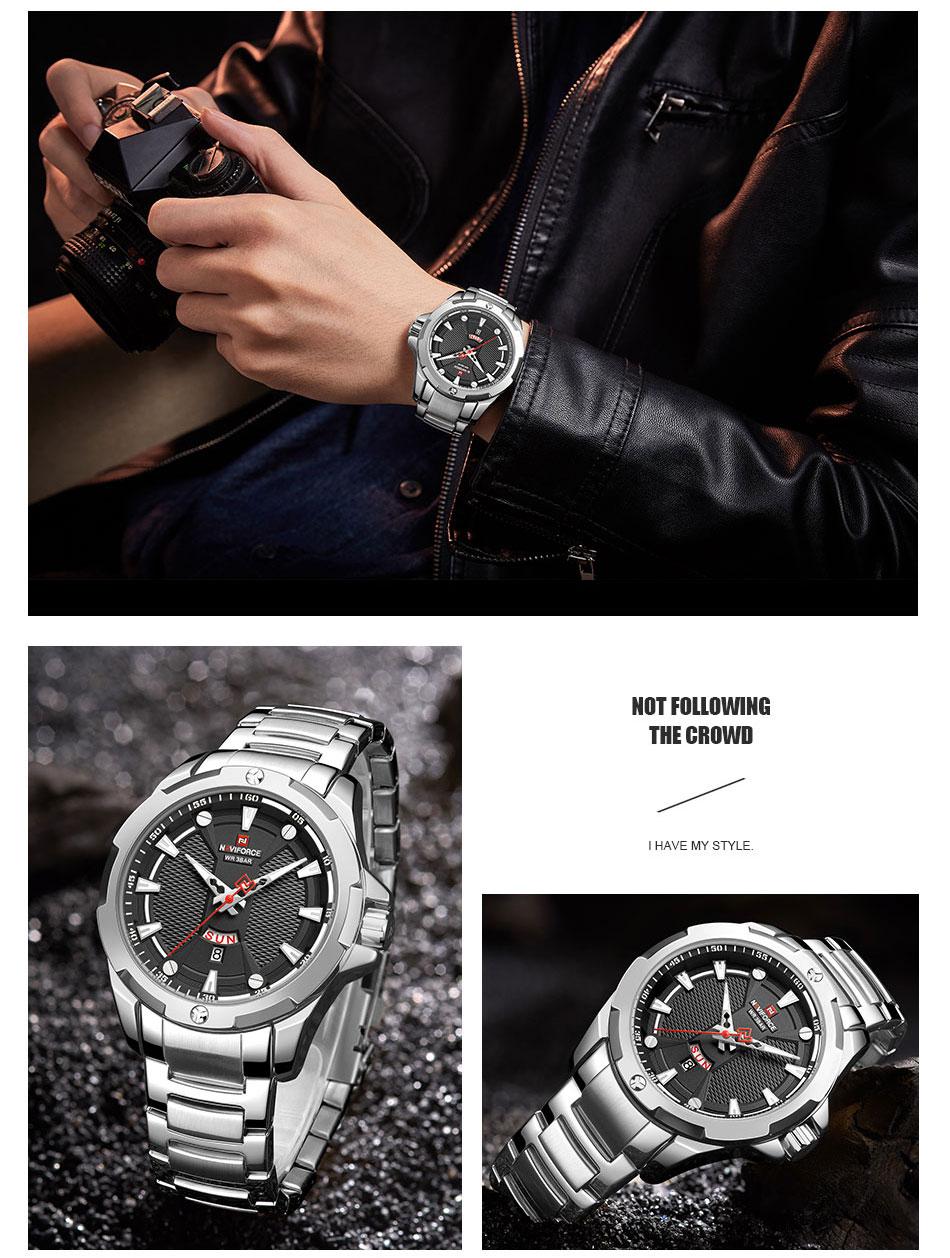 H3da961263a014328b82eb5624489f5df2 Men's Watches Top Luxury Brand NAVIFORCE Analog Watch Men Stainless Steel Waterproof Quartz Wristwatch Date Relogio Masculino