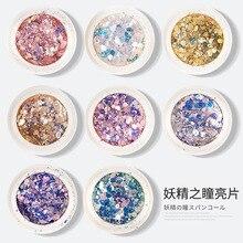 Glitter for Nails Mixed Hexagon Sequin Champagne Laser Sliver Nail Art Flakes Paillette Manicure Design Nail Art Decor