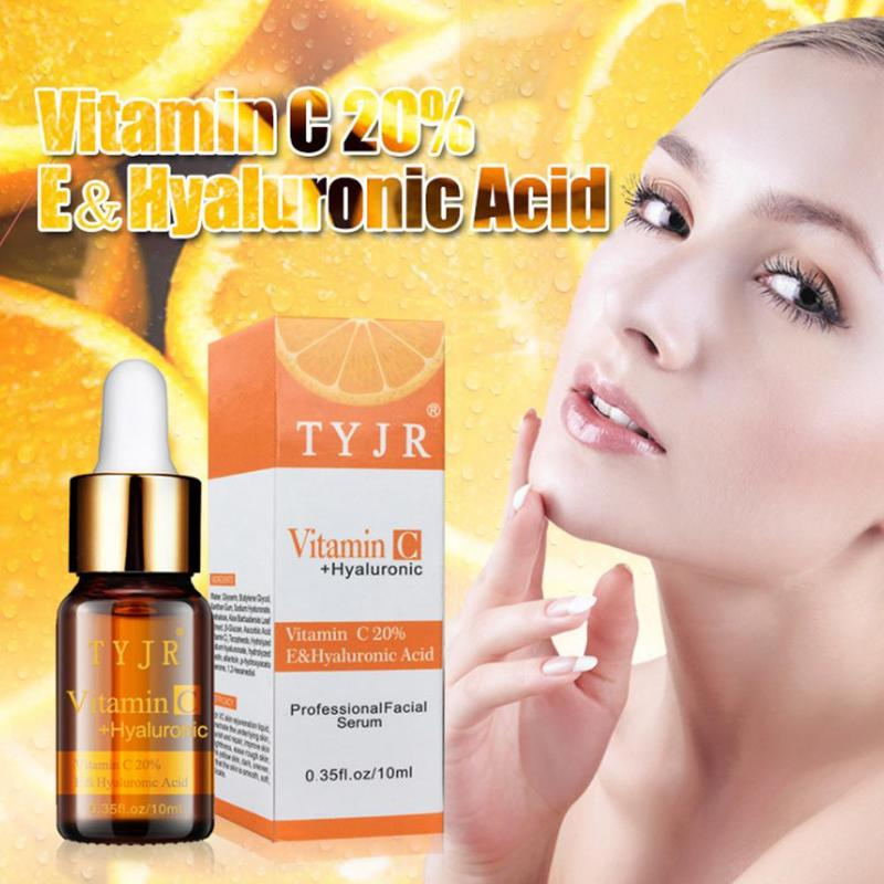 Vitamin C 100% Pure Serum Liquid Freckle Removal Acne Scar Hyaluronic Acid Anti-wrinkle Vc Face Serum Oil Fade Dark Spot Essence