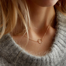 European and American Simple Geometric Round Pendant Stainless Steel Necklace 316L Clavicle Chain Distribution round geometric cut out arm chain