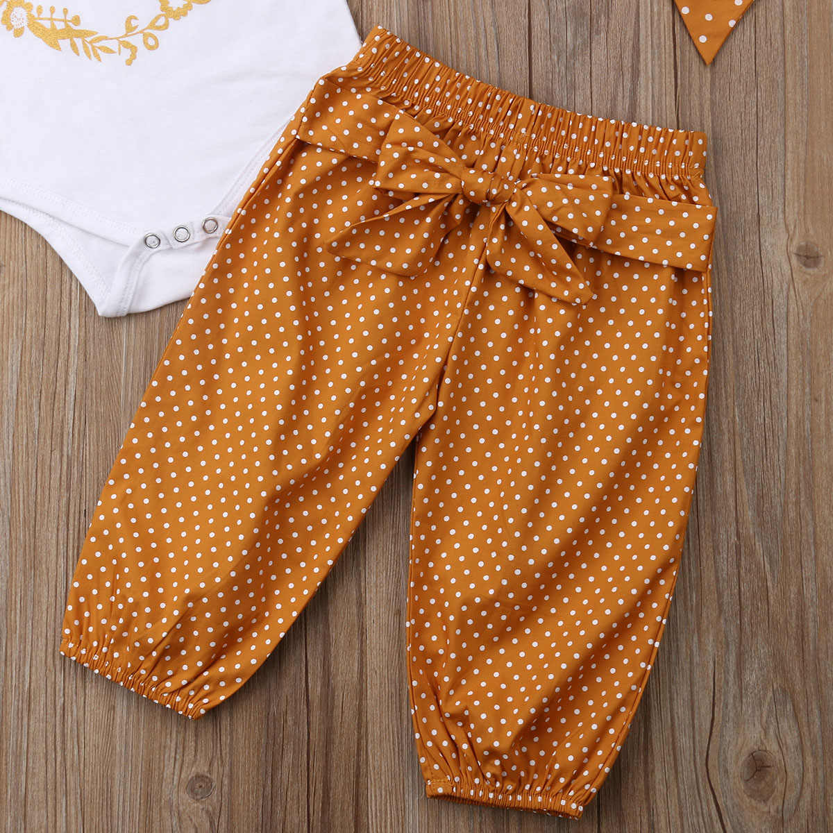 0-18M Neugeborenen Baby Junge Mädchen Kurzarm Baumwolle Body Tops Dot Lange Hose Hosen Stirnband 3PCS outfits Sommer Kleidung Set