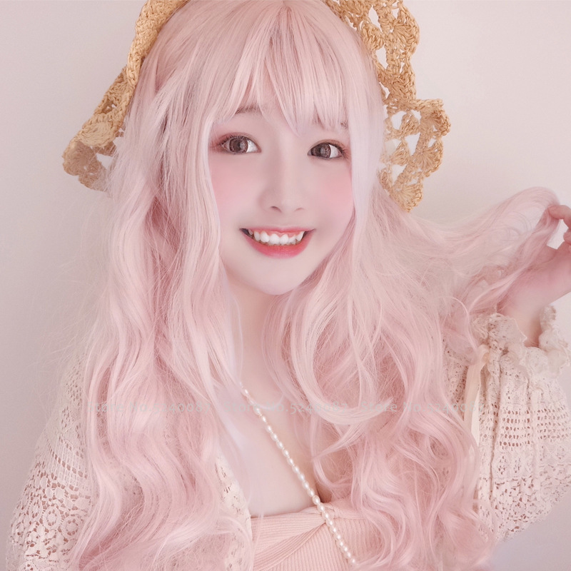 Women Long Curly Hair Japanese Anime Lolita Princess Elf Party Cosplay Costume Girl Korean Pink Wig Carnival Performance Costume