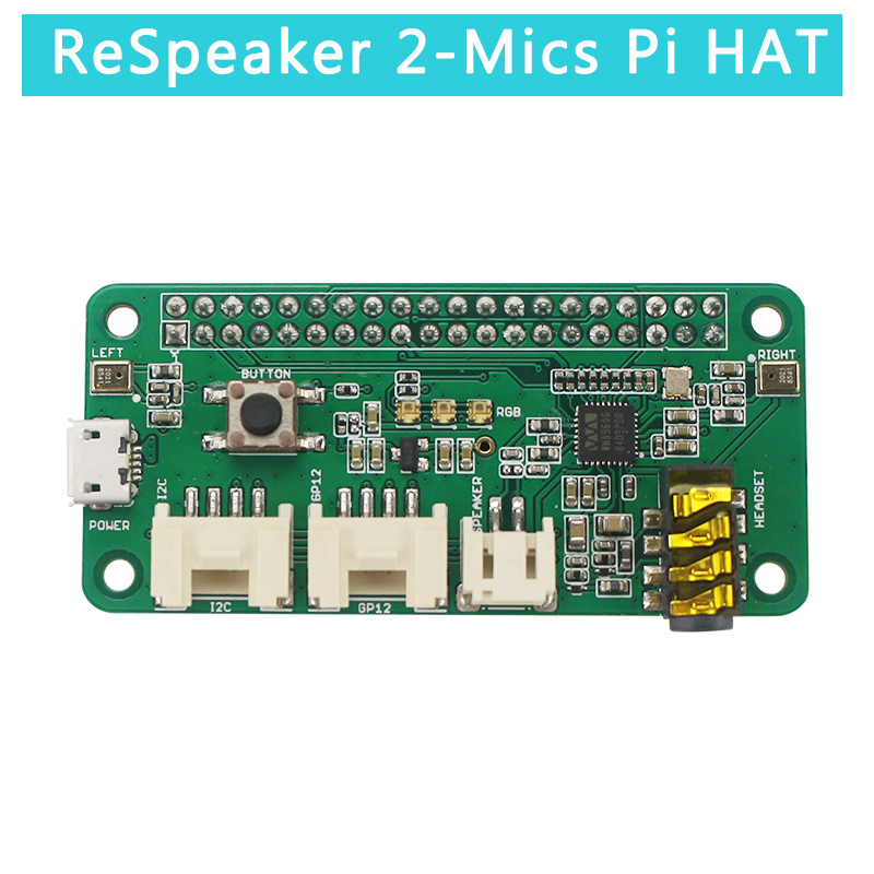 ReSpeaker 2-Mics Pi Hat For Raspberry Pi 4 Model B Intelligent Voice Module Dual Microphone Array For Raspberry Pi Zero /3B+ /3B