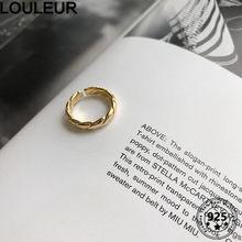 LouLeur дизайн 925 пробы Серебряное кольцо из белого золота саржа с кольцом для Для женщин Ювелирное Украшение регулируемое кольцо 2020 тренд сере...