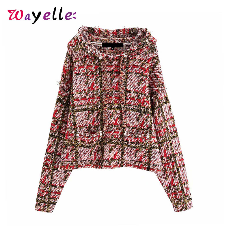 Plaid Knitted Sweater Women Pullovers Hood Women Tops Autumn Winter  Faux Pearl Beading Women Tops Long Sleeve Pocket Sweaters