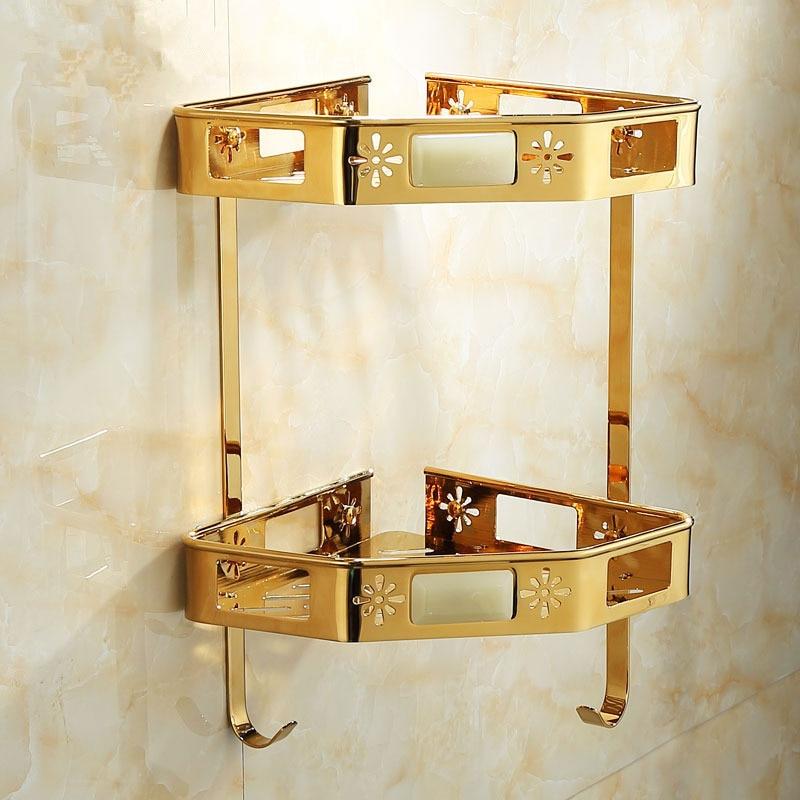 Gold Bathroom Shelf with Hook Wall Mounted Luxury Corner Shelf Bath Shower Shelf Gold Bath Shampoo Holder Basket Storage Holder