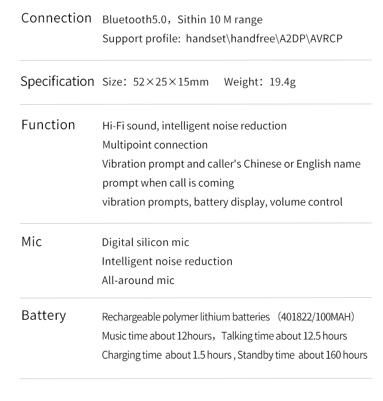 FineBlue F2 Wireless Music Headset Vibrating Alert Wear Clip Earphone