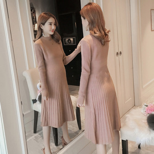 Image 5 - Autumn winter maternity sweater dress elastic slimming knitted pregnancy clothes pregnant dresses for women winter warm long