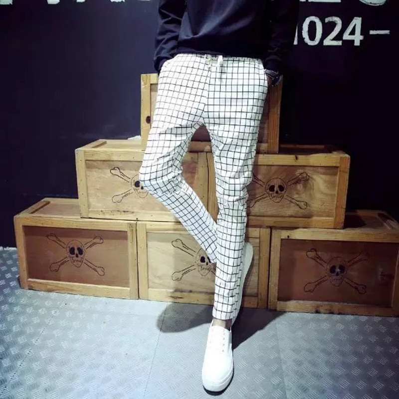 Korean-style Slim Fit Autumn Teenager Fashion Nan Shi Zhuang Plaid Small Feet Long Pants Men Denim (Ankle-length Pants) Men's