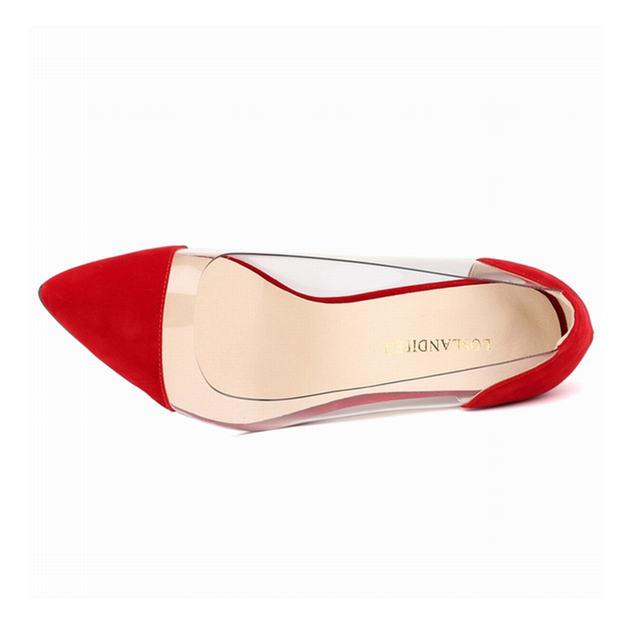 Flock Thin Heels Pointed Toe Velvet Dress Shoes  3