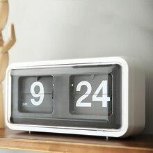 Креативные Автоматические цифровые откидные настольные часы, украшение для спальни, классические ретро откидные часы, современные настольные часы с поворотом страниц