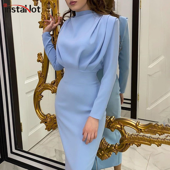 InstaHot Elegant Women Dress Stand Collar Slim Waist Solid Blue Ankle Length Autumn Long Sleeve Casual Party Dress 2020 Fashion 1