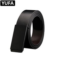 YUFA Leather Belt Men Smooth Buckle Boys  Gray Black Silver Cow Genuine High Quality Luxury Designer Alloy Belts