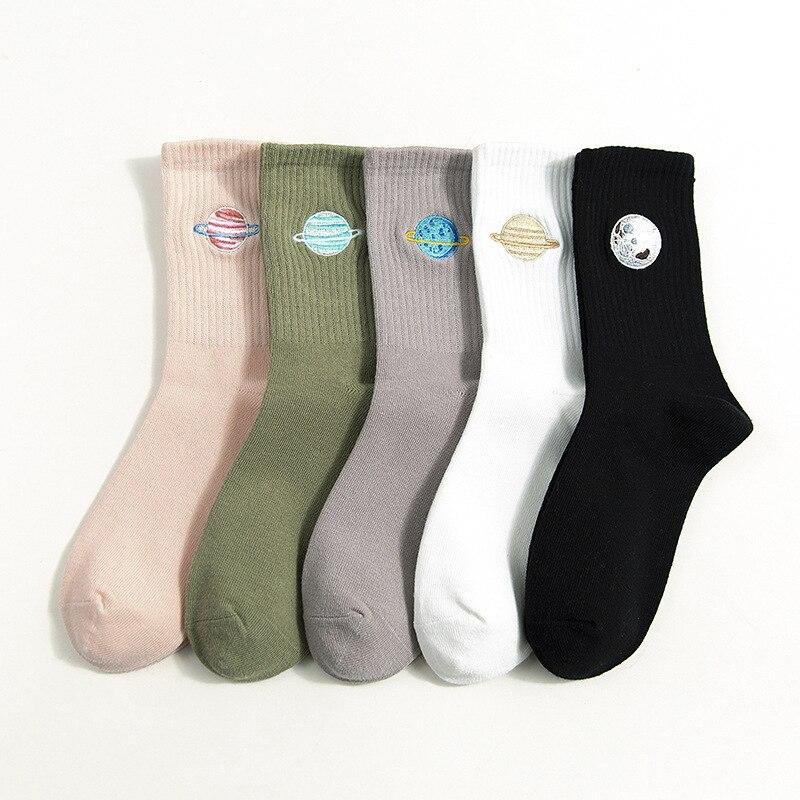 Women Cotton Socks All Seasons New Fashion Space Embroidery Wild Series Ladies College Wind Sweet Deodorant Socks