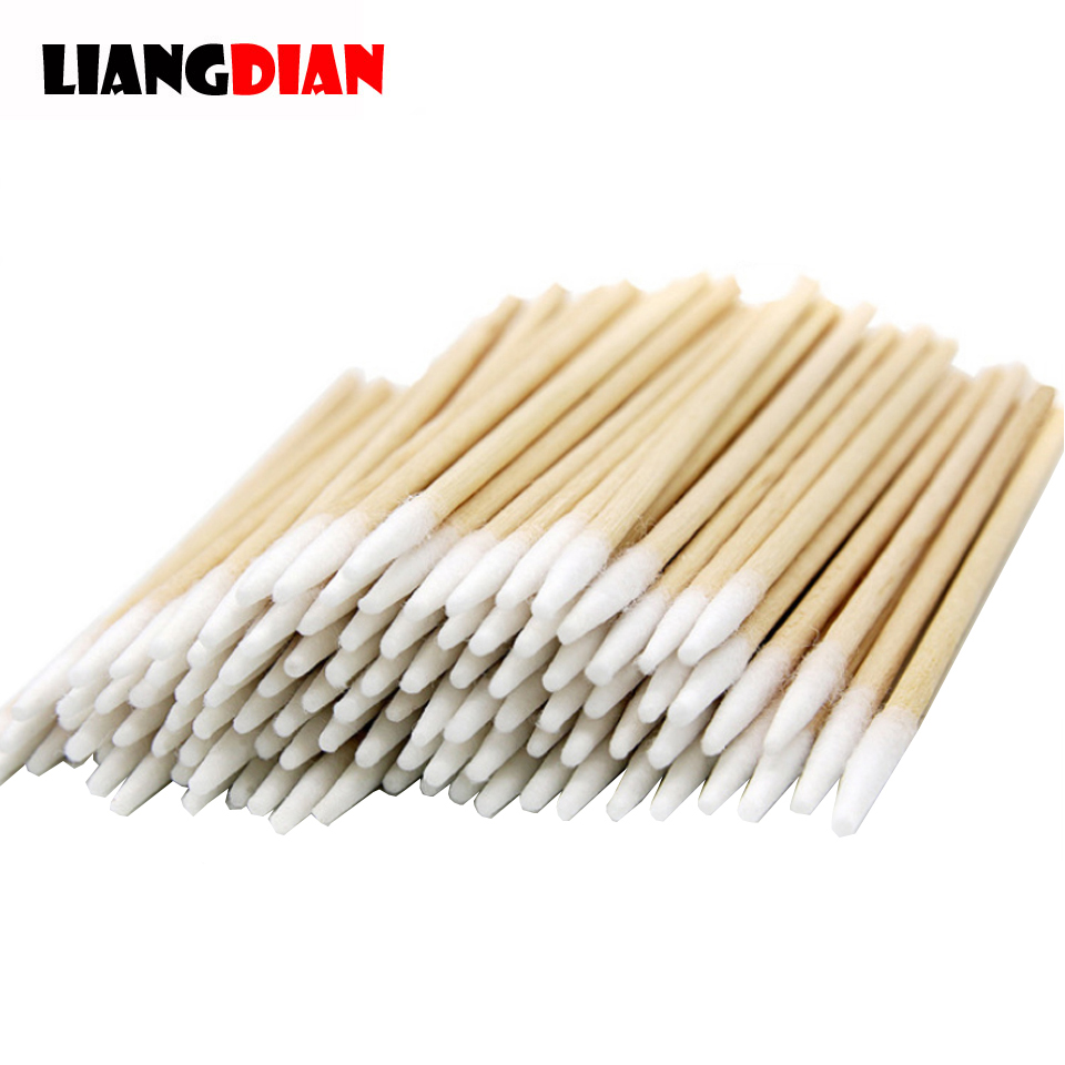 High Quality 1 Pack 100pcs Wooden Cotton Stick Swabs Buds For Cleaning The Ears Eyebrow Lips Eyeline Tattoo Makeup Cosmetics