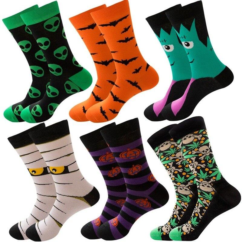 Осень-зима, новый стиль, Kawaii Harajuku, женские носки на Хэллоуин, хлопковые носки с изображением скелета, инопланетянина, тыквы, носки с монстрам...
