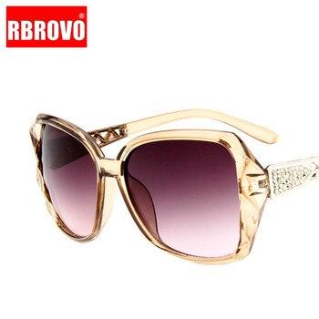 RBROVO-gafas De Sol con montura grande para mujer, anteojos De Sol femeninos con gradiente Vintage De diseñador De marca, gafas para ir De compras, UV400, De viaje, 2021 1