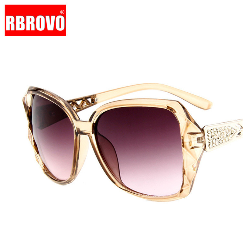RBROVO 2018 Large Frame Sunglasses Women Brand Designer Vintage Gradient Shopping Glasses UV400 Travel Oculos De Sol Feminino