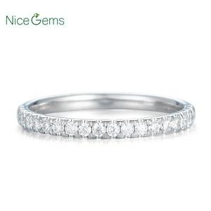 Image 3 - 14 585 ホワイトゴールド 0.25 ctw 薄型フランスパヴェセットモアッサナイトの結婚指輪ハーフ永遠と 20 個モアッサナイト石ウェディングバンド