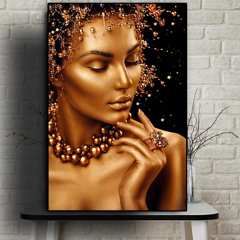 Arte Africano desnudo Sexy pintura al óleo de mujer negra y dorada sobre lienzo pósters e impresiones arte de pared imagen para sala de estar