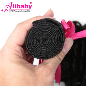 Image 4 - Alibaby Deep Wave Bundles 4 Pcs/Lot Brazilian Hair Weave Bundles Natural Color 100% Human Hair Weave No Remy Hair Extensions