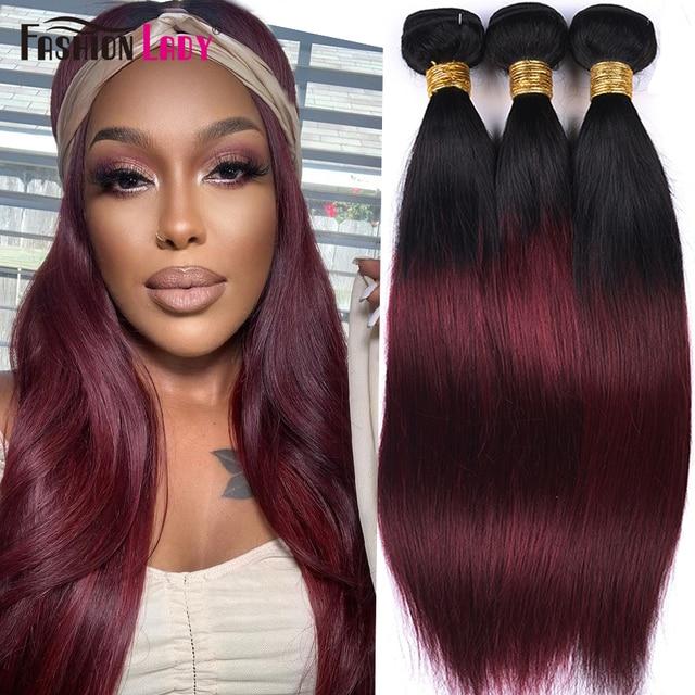 FASHION LADY Pre Colored Indian Hair Ombre Human Hair Bundles T1B/99J Straight Hair Weave 3 Bundles Per Pack Non Remy