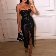 Black Pu Leather backless bodycon dress Women Sexy Strapless Party vestidos