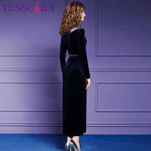 Image 5 - TESSCARA Women Autumn & Winter Elegant Velvet Dress Female Vintage Long Party Pencil Robe Femme Shoulder Mesh Designer Vestidos