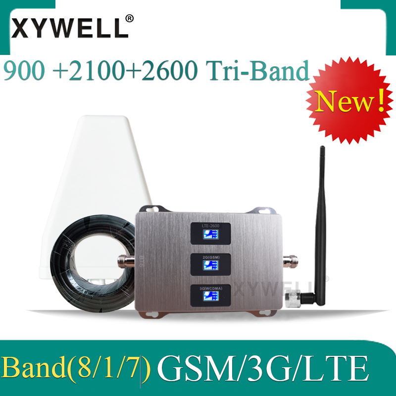 70dB Gain Gsm Repeater Gsm Signal Booster 2G 3G 4G 900 2100 2600 GSM UMTS LTE Tri Band Mobile Phone Repeater