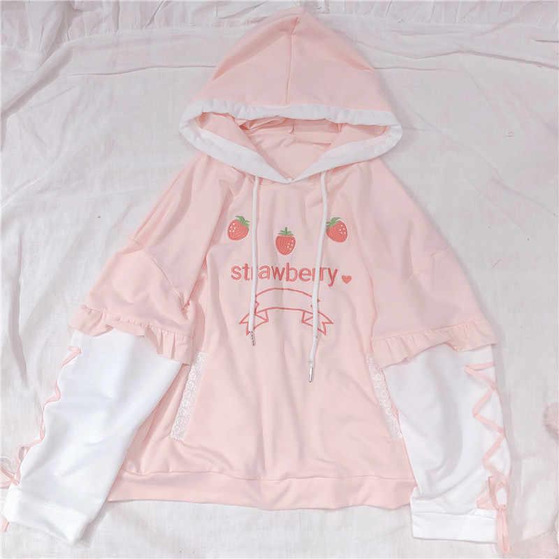 Weichen Schwester Nette Erdbeere Stickerei frauen Hoodies Kawaii Junges Mädchen Pullover Frühjahr Verband Langarm Mit Kapuze Sweatshirt